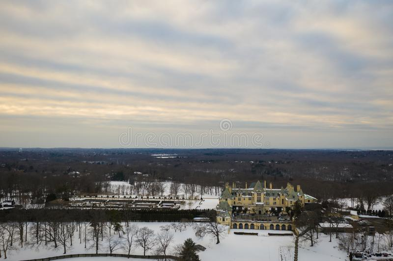Aerial of long island new york with snow royalty free stock photos
