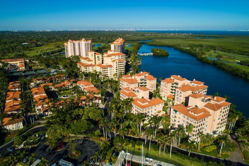 Aerial luxury bayfront condominiums Miami Florida stock photography