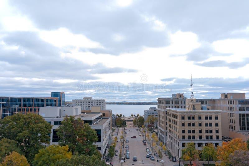 Aerial of Madison Toward Monona Terrace stock photography