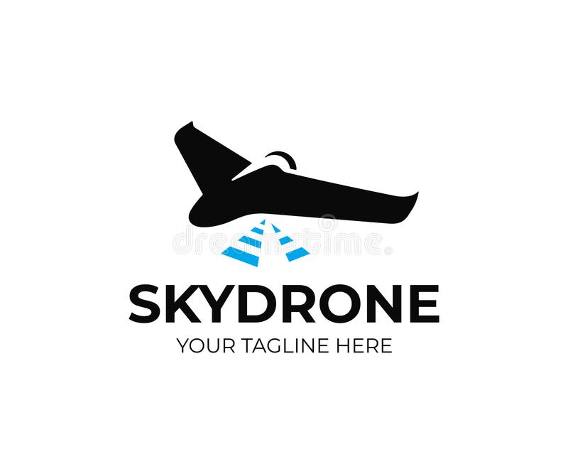 Aerial mapping drone logo template. Drone survey vector design stock illustration