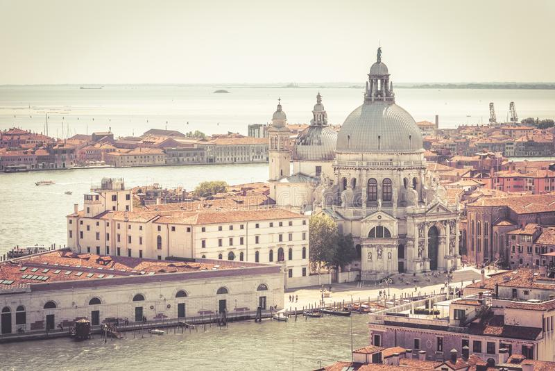 Aerial marine view of Venice, Italy. Basilica di Santa Maria della Salute, Grand Canal and lagoon. Venice skyline. Panorama of Venice from above in summer royalty free stock image