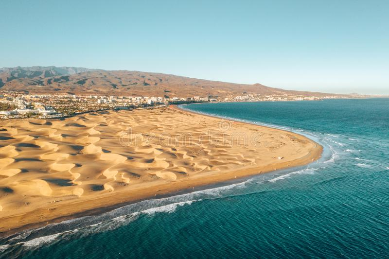 Aerial Maspalomas dunes view on Gran Canaria island. stock images
