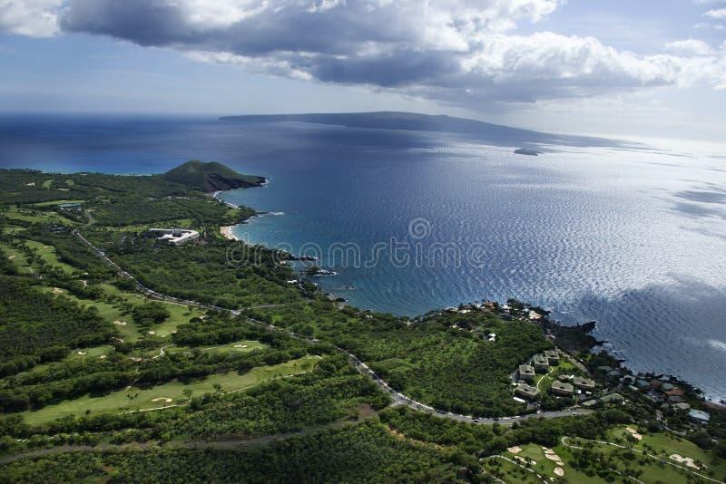 Aerial of Maui coastline. royalty free stock image