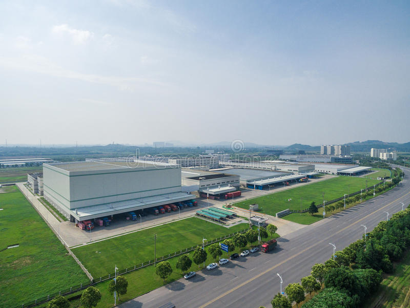 Aerial Modern Distribution Center factory stock images