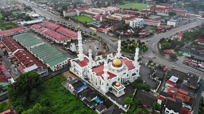 Aerial morning view of Al-Ismaili Mosque at Pasir Pekan, Kelantan, Malaysia. Created by dji camera, aerialphotography, architecture, asia, background, building royalty free stock image