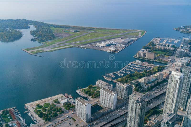 Aerial morning view of the Billy Bishop Toronto City Airport. Canada stock image