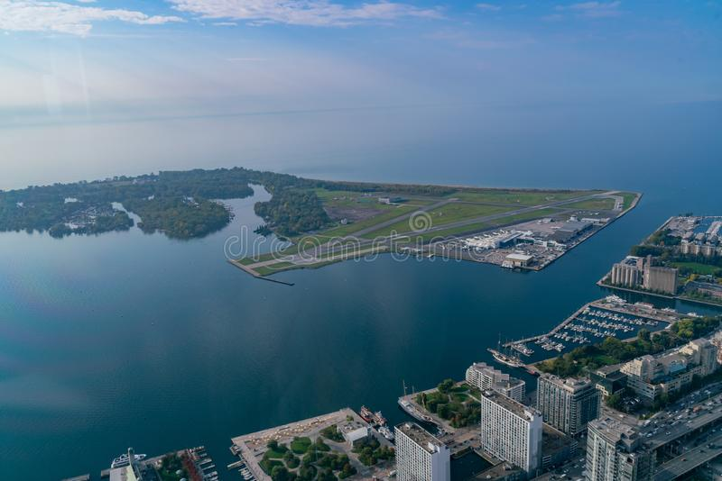 Aerial morning view of the Billy Bishop Toronto City Airport. Canada royalty free stock photos