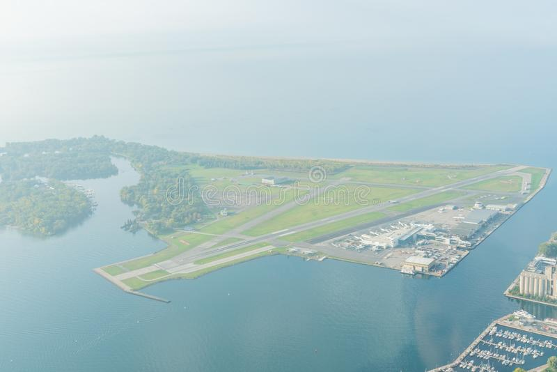 Aerial morning view of the Billy Bishop Toronto City Airport. Canada stock photography