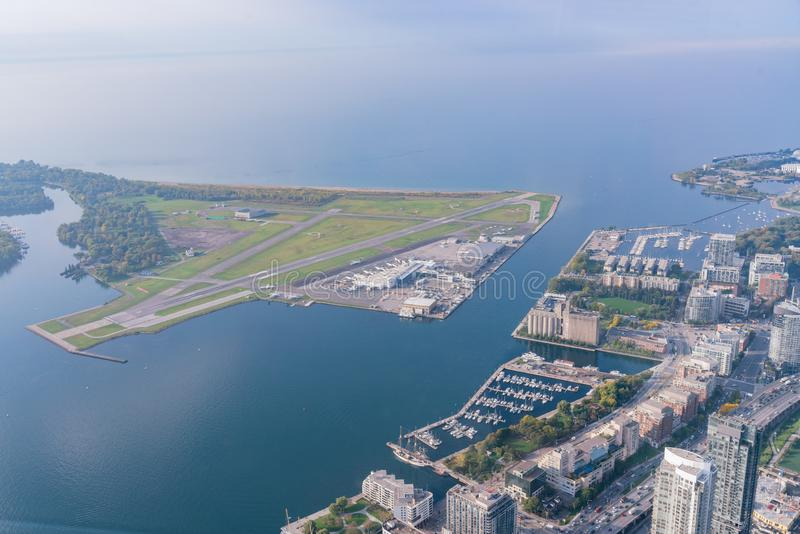 Aerial morning view of the Billy Bishop Toronto City Airport. Canada royalty free stock image