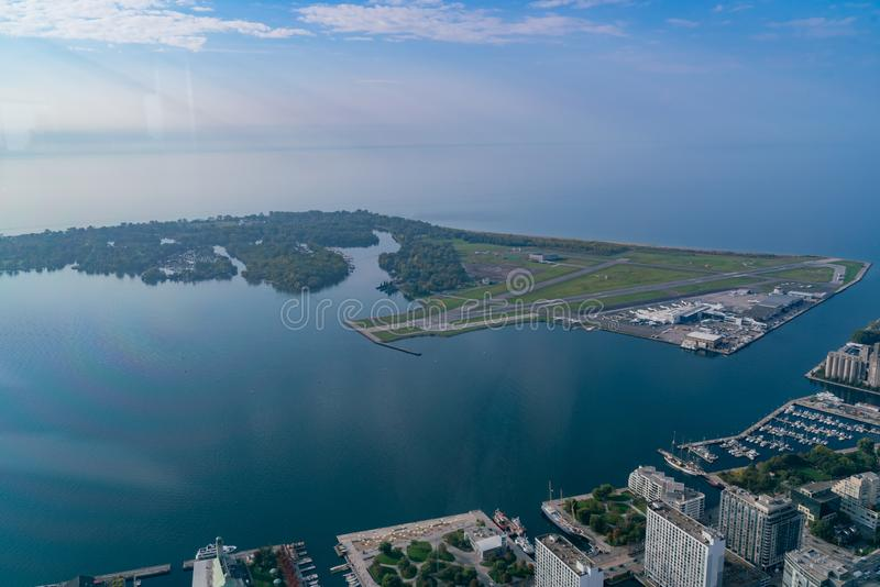 Aerial morning view of the Billy Bishop Toronto City Airport. Canada royalty free stock photography