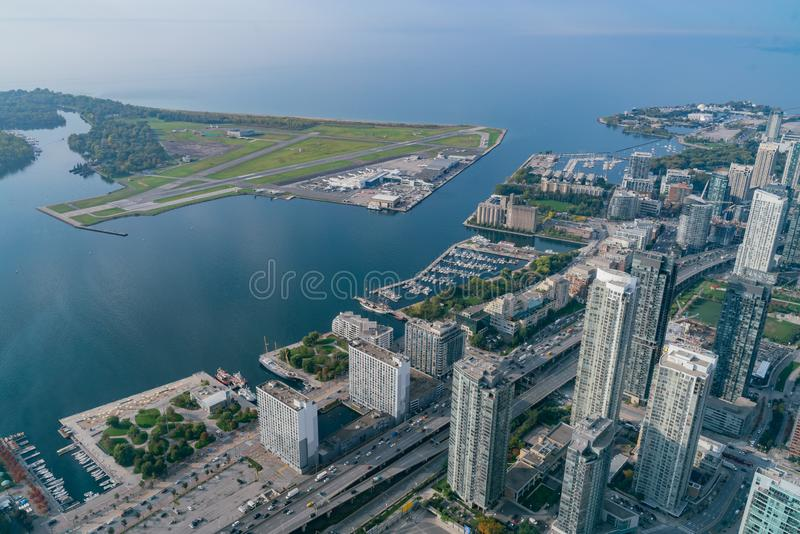Aerial morning view of the Billy Bishop Toronto City Airport. Canada stock images