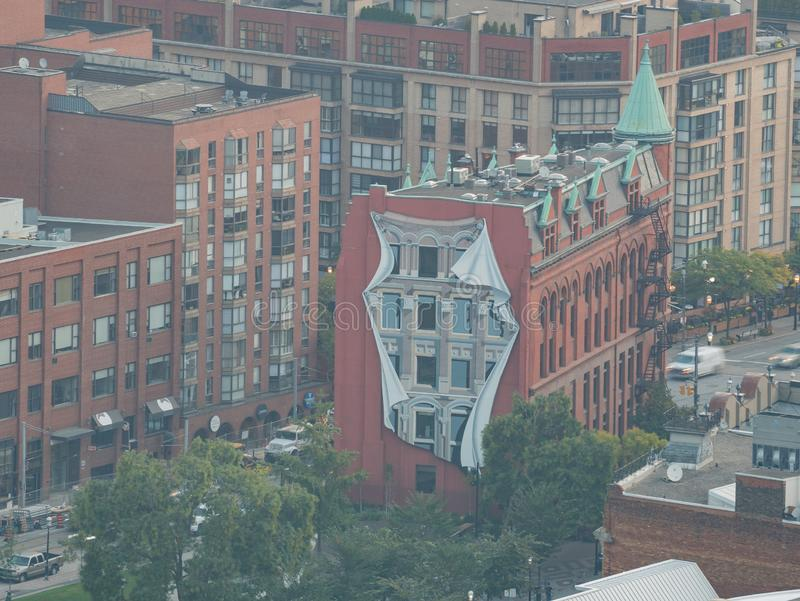 Aerial morning view of the Gooderham Building and Toronto downtown. Canada royalty free stock photography