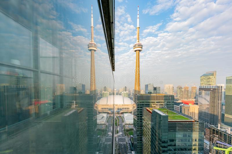 Aerial morning view of the Toronto downtown and CN Tower with reflection. At Canada royalty free stock images