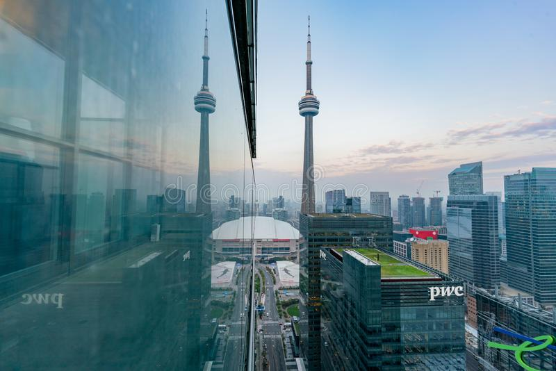 Aerial morning view of the Toronto downtown and CN Tower with reflection. At Canada stock images