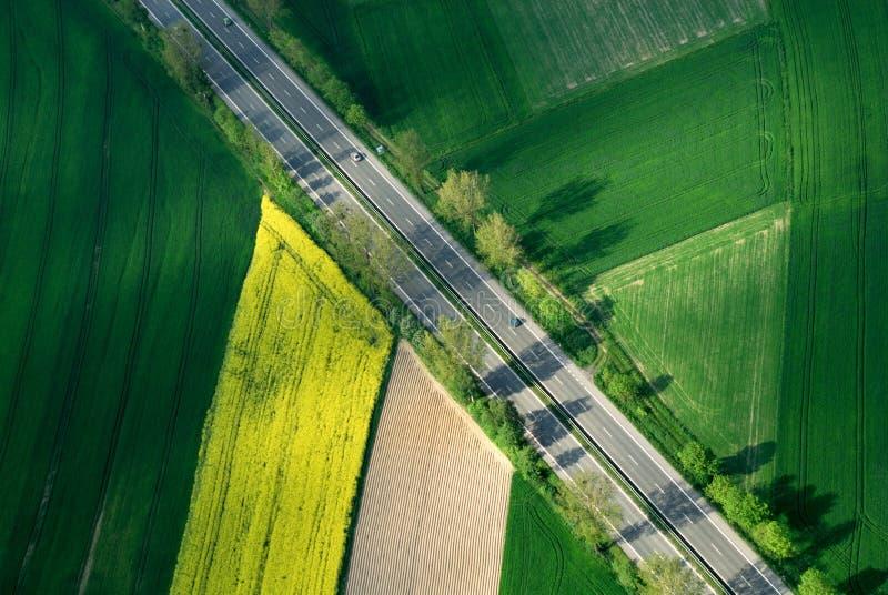 Aerial motorway in green royalty free stock photos