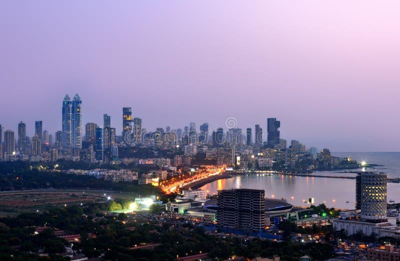 Aerial Mumbai by night stock photography