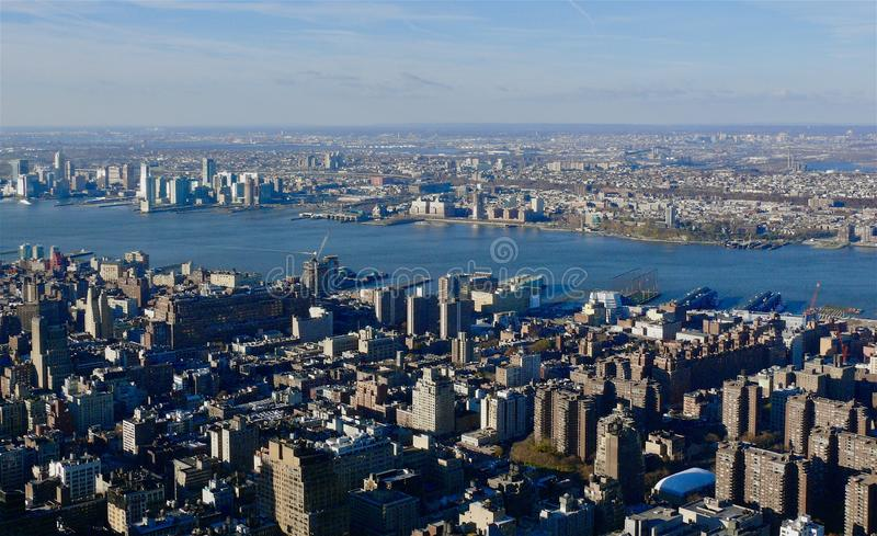 Aerial New York City. Looking down  on New York City royalty free stock images
