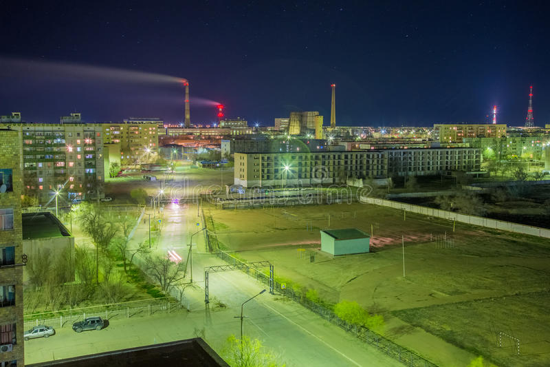 Aerial night cityscape of Baikonur royalty free stock photography