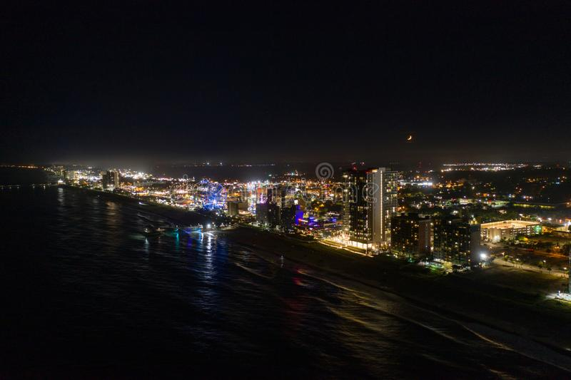 Aerial night photo moon over Myrtle Beach SC stock photography