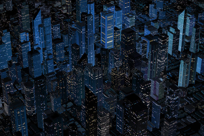 Aerial Night Retro Looking Modern City Stock Photography