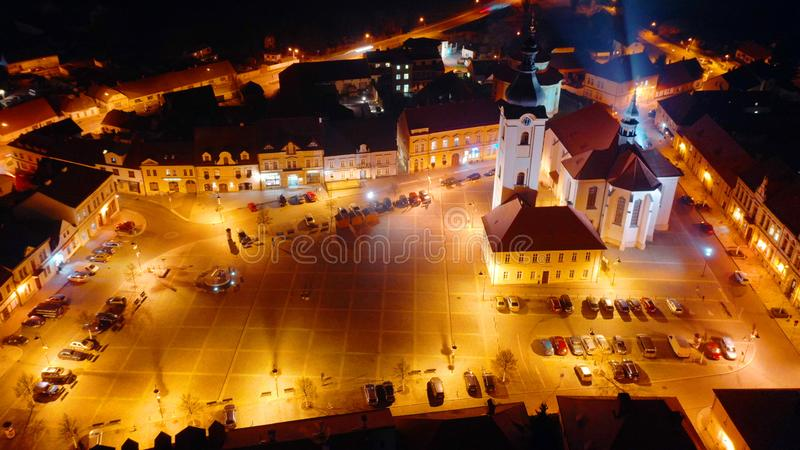 Aerial night shot of the church of St. Nicholas in Dobrany near Pilsen. royalty free stock image