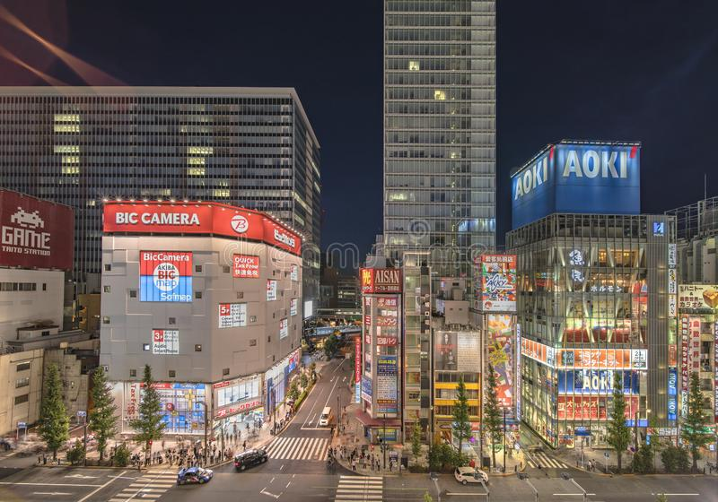 Aerial night view of the Akihabara Crossing Intersection in the electric town of Tokyo in Japan.  stock images