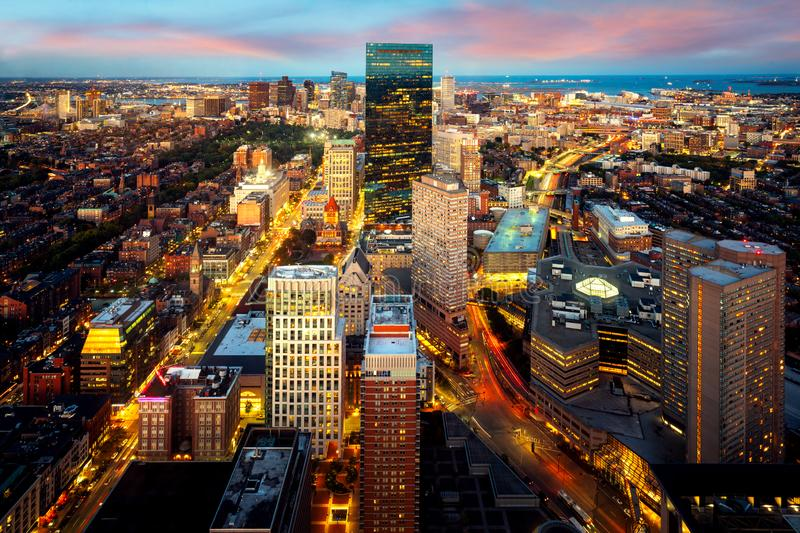 An aerial night view of Boston city center. With sunset skyline, Massachusetts royalty free stock photos