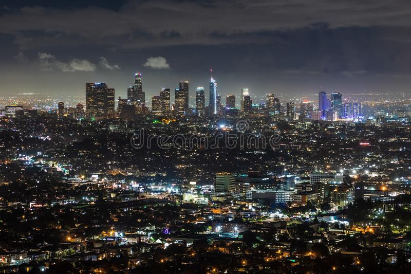 Aerial night view of downtown Los Angeles skyline; California royalty free stock images