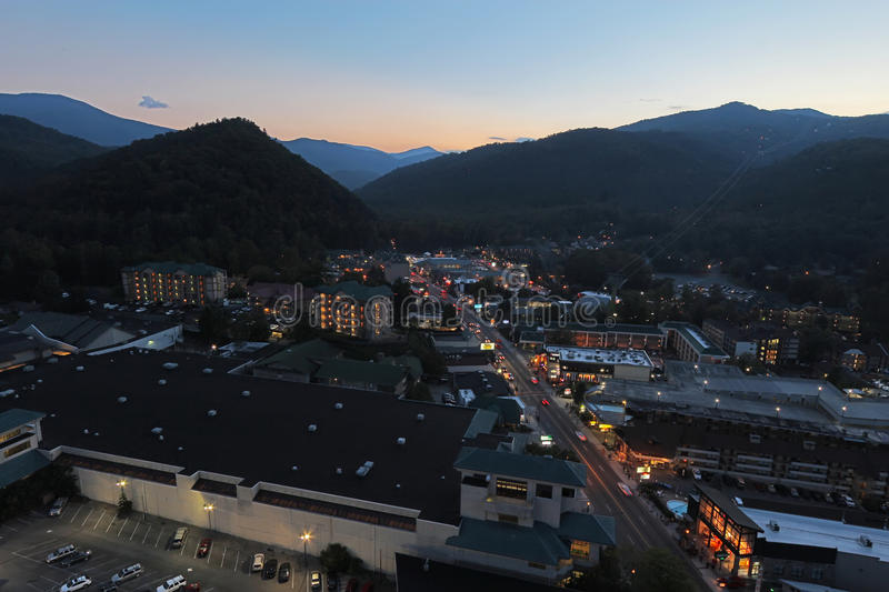 Aerial night view of the main road through Gatlinburg, Tennessee royalty free stock photography