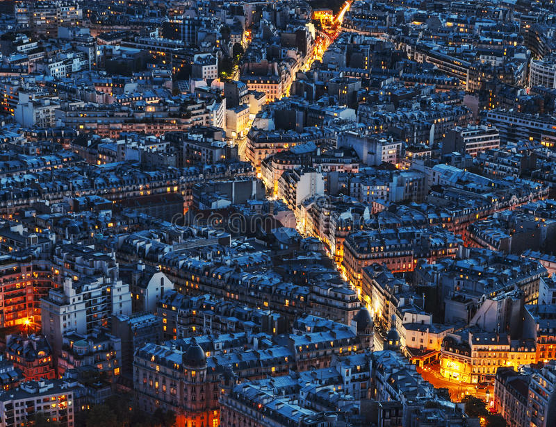 Aerial Night View of Paris royalty free stock images