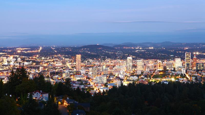 Aerial night view of Portland, Oregon downtown royalty free stock photos