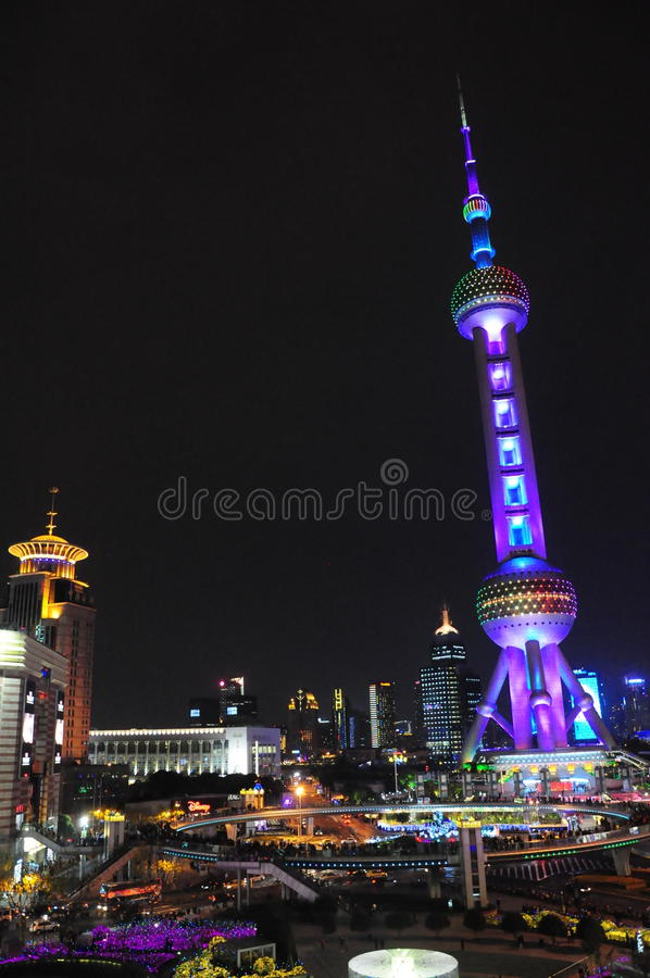 Aerial night view of shanghai pudong, oriental pearl tower royalty free stock image