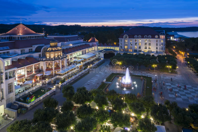 Aerial, night view of Sopot molo square in Poland. Aerial, night view of Sopot molo square a tourist destination at the Baltic seaside in Poland stock image