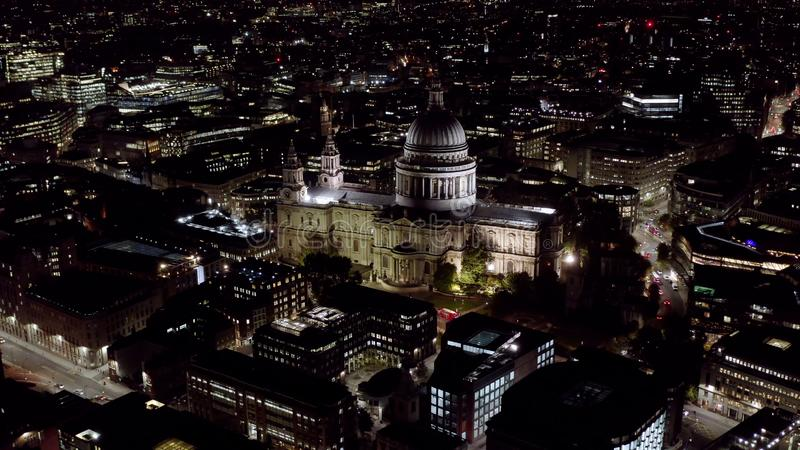Aerial Night View of St. Paul`s Cathedral in London stock photo