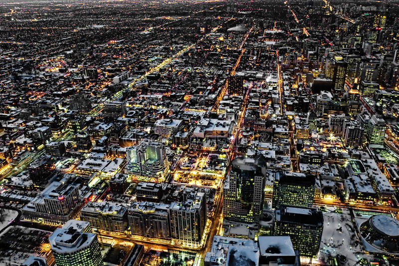 An aerial night view of Toronto. Canada royalty free stock image