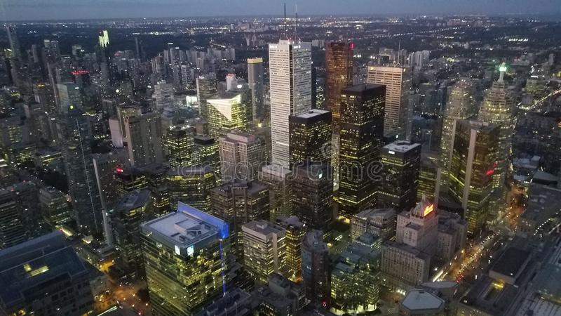 Night top view at downtown of Toronto. Aerial Night view at Toronto downtown from CN Tower in day time in Ontario, Canada royalty free stock images