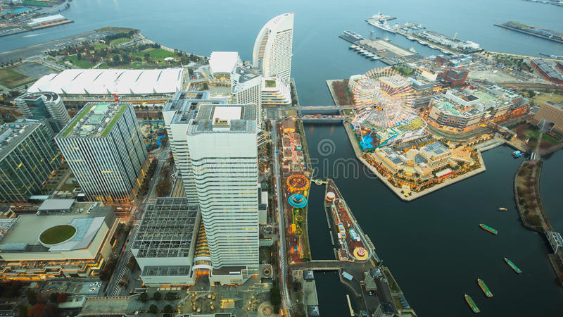 Aerial night view of Yokohama Cityscape and bay at Minato Mirai waterfront district from yokohama royalty free stock photos