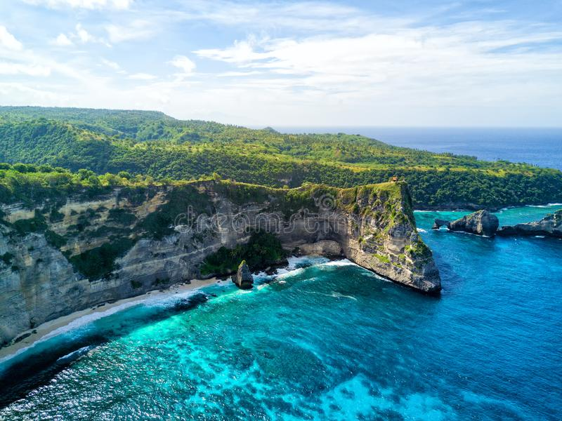 Aerial Nusa Penida. Aerial view of Lebah Ampoak on Nusa Penida, near Bali, Indonesia stock images