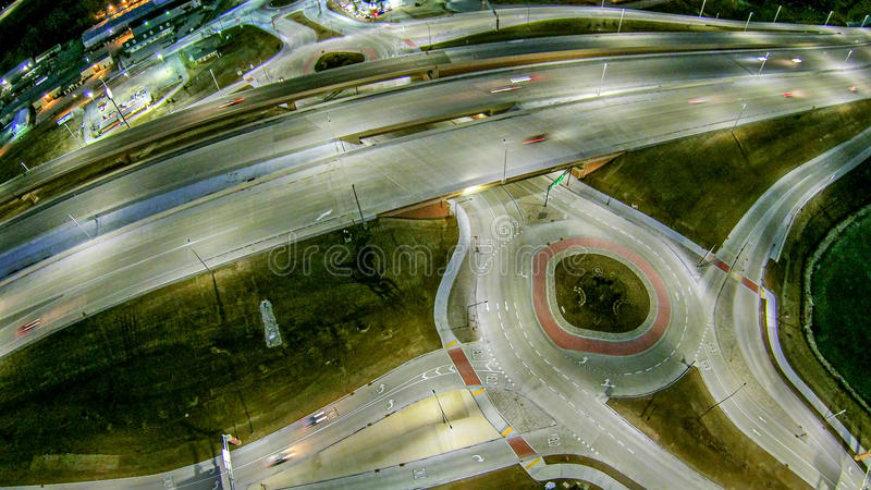 Aerial over highway interchange near green bay wisconsin royalty free stock photography
