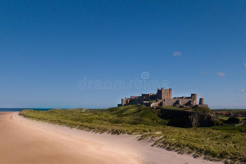 Aerial overhead view of Bamburgh Castle, Northumberland, UK stock photography