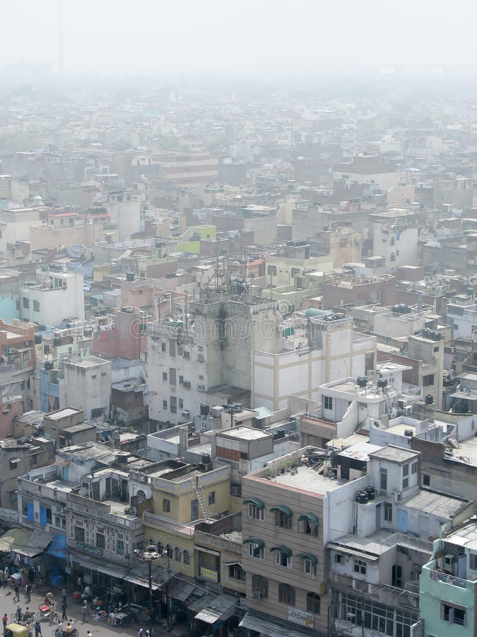 Aerial overview the centre of Old Delhi, India. stock image