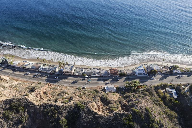 Pacific Coast Highway Homes Aerial Malibu California. Aerial of Pacific Coast Highway homes and beaches north of Los Angeles and Santa Monica in scenic Malibu royalty free stock images