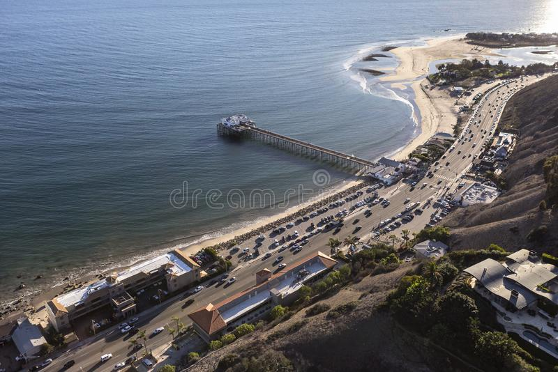 Aerial of Pacific Coast Highway and Malibu Pier. Aerial view of Pacific Coast Highway and scenic Malibu Pier in Los Angeles County, California stock photography