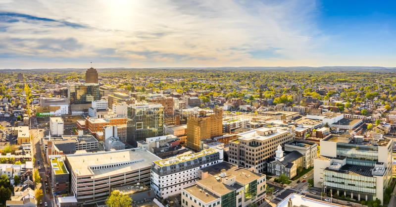 Aerial panorama of Allentown, Pennsylvania skyline. On late sunny afternoon. Allentown is Pennsylvania`s third most populous city royalty free stock photography