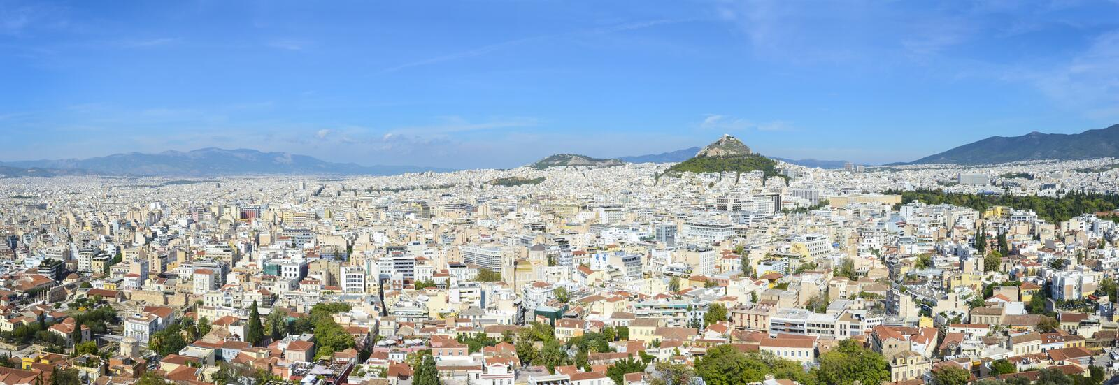 Aerial panorama of Athens, Greece. Aerial wide panoramic view of athens the capital of Greece stock images