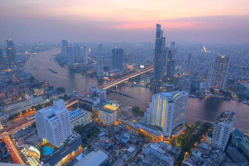 Aerial panorama of Bangkok in evening twilight royalty free stock photo