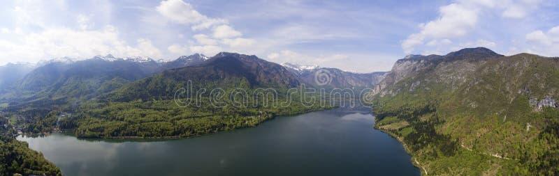 Aerial panorama of Bohinjsko jezero lake stock photography