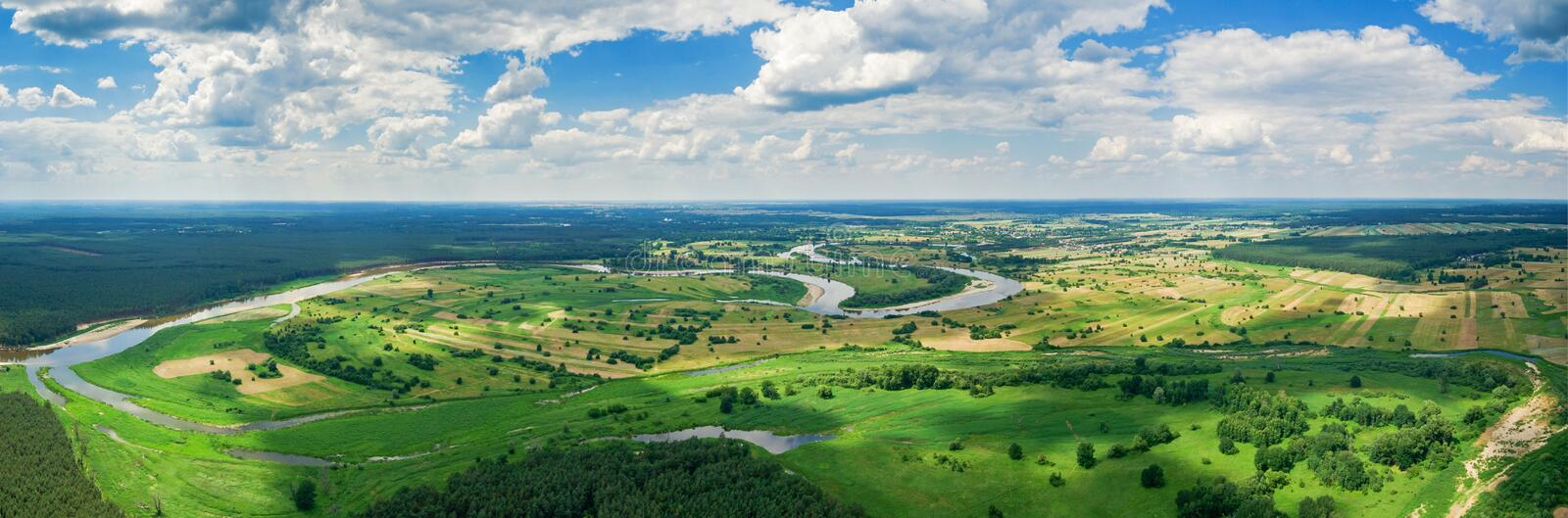 Aerial panorama of Bug river. Near Szumin / Wyszkow, Poland, Europe royalty free stock photo