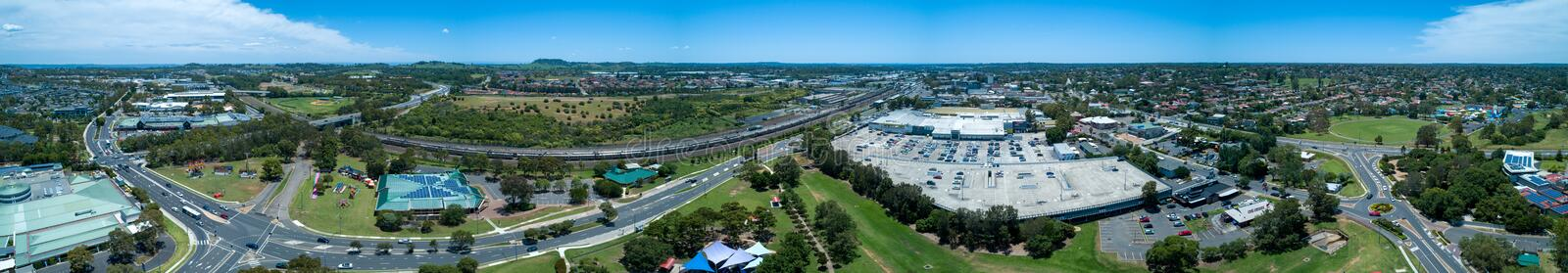 Aerial panorama of Campbelltown suburb of Sydney. Wide aerial panorama of Campbelltown suburb of Sydney in New South Wales, Australia stock photography