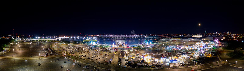 Aerial panorama carnival at Metlife Stadium stock photography